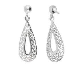9ct White Gold Filgree Drop Earrings