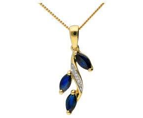 9ct Yellow Gold Sapphire & Diamond Pendant
