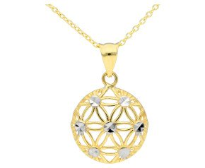 9ct Yellow & White Gold Flower Pendant