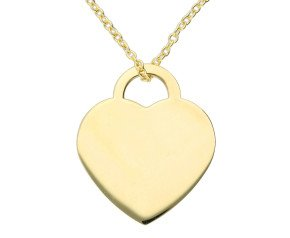 9ct Yellow Gold Heart Plaque Necklace - Free Engraving