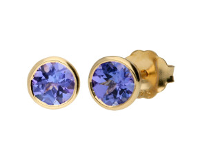 9ct Yellow Gold 0.50ct Round Tanzanite Solitaire Stud Earrings
