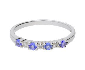 9ct White Gold Tanzanite & Diamond Eternity Ring