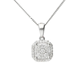 18ct White Gold 0.20ct Diamond Cluster Pendant