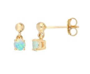 9ct Yellow Gold 4mm Opal Solitaire Round Shape Drop Earrings