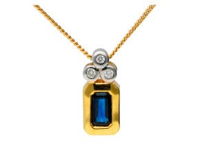 18ct Yellow Gold Sapphire & Diamond Fancy Pendant