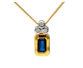 18ct Yellow Gold Sapphire & Diamond Fancy Pendant