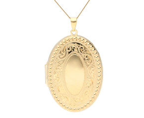 9ct Yellow Gold Oval Embossed Locket