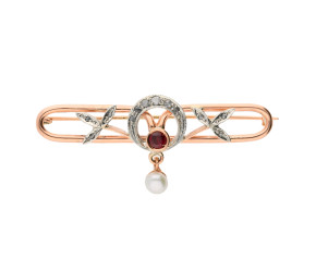 Handcrafted Italian 9ct Rose Gold Garnet, Pearl & Diamond Brooch