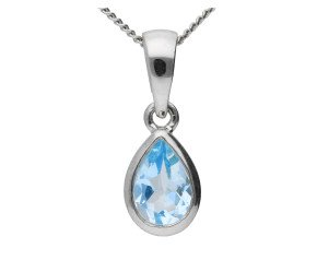 9ct White Gold 0.20ct Aquamarine Solitaire Pendant