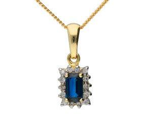 9ct Yellow Gold 0.55ct Sapphire & 0.10ct Diamond Cluster Pendant