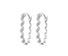 9ct White Gold & Diamond Twisted Ribbon Circle Earrings