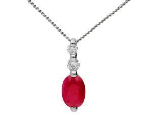 9ct White Gold Ruby & Diamond Pendant