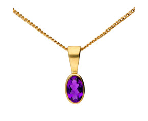9ct Yellow Gold 0.15ct Amethyst Rub Over Solitaire Pendant