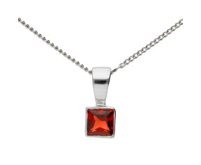 9ct White Gold 0.10ct Garnet Solitaire Pendant