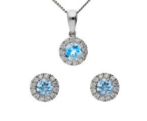 18ct White Gold 0.45ct Aquamarine & 0.20ct Diamond Cluster Pendant & Earrings Jewellery Set