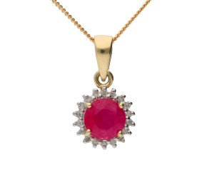9ct Yellow Gold 0.65ct Ruby & Diamond Cluster Pendant