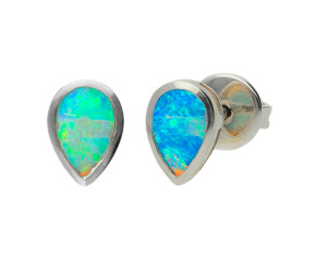 18ct White Gold Pear Opal Solitaire Stud Earrings