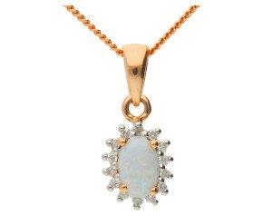 9ct Rose Gold 0.30ct Opal & Diamond Cluster Pendant