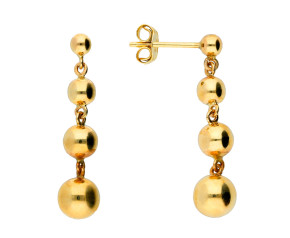 9ct Yellow Gold Four Ball Drop Earrings