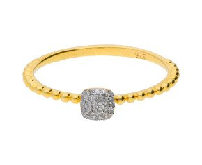 9ct Yellow Gold Diamond Pave Bobble Ring