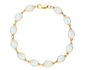 9ct White Gold Oval Opal Bracelet