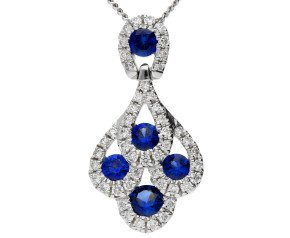 18ct White Gold 0.35ct Sapphire & 0.15ct Diamond Fancy Peacock Pendant