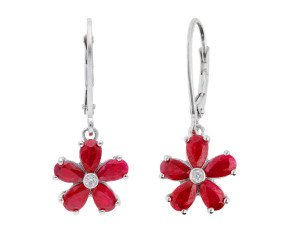 9ct White Gold  2.50ct Ruby & Diamond Flower Cluster Drop Earrings