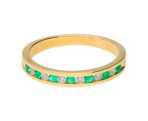 9ct Yellow Gold 0.15ct Emerald & 0.15ct Diamond Half Eternity Ring