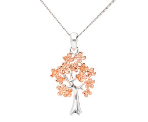 Sterling Silver & Rose Gold Plate Tree Pendant