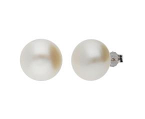 Silver 11mm Freshwater Button Pearl Earrings