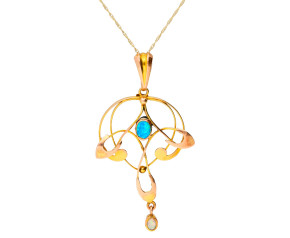 Antique Art Nouveau 9ct Yellow Gold Opal Pendant