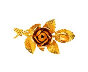 Vintage 1990's 18ct Yellow Gold Rose Flower Brooch