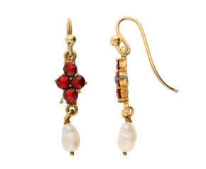 Vintage Gold Plate Garnet & Pearl Drop Earrings