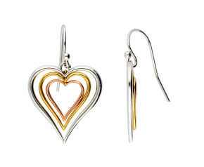 Sterling Silver & Gold Vermeil Heart drop Earrings