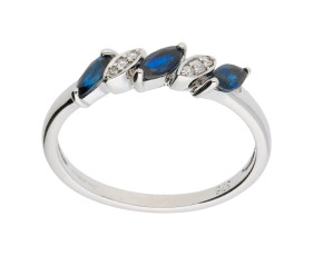 9ct White Gold 0.30ct Sapphire & 0.05ct Diamond Dress Ring