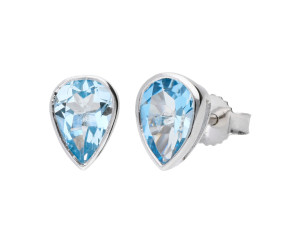 9ct White Gold 1.20ct Pear Aquamarine Solitaire Stud Earrings