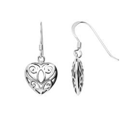 Sterling Silver Filigree Heart Drop Earrings