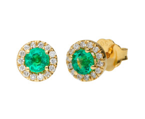 18ct Yellow Gold Emerald & Diamond Cluster Earrings
