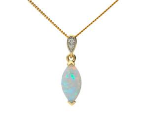 9ct Yellow Gold Navette Cut Opal & Diamond Pendant