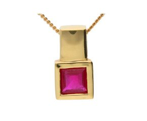 18ct Yellow Gold 0.40ct Square Ruby Solitaire Pendant