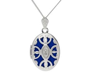 Silver Diamond Accent Oval Locket