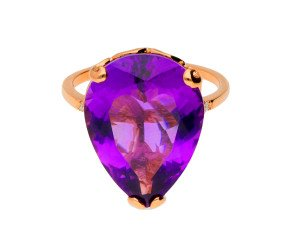 18ct Rose Gold & Amethyst Whispering Large Tear Ring