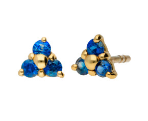 9ct Yellow Gold 0.25ct Tanzanite Trefoil Cluster Earrings