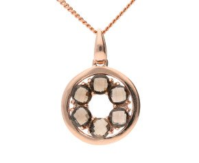 9ct Rose Gold Smoky Quartz Circle Pendant