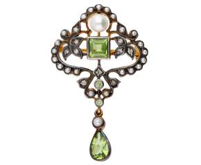 Peridot, Pearl & Diamond Brooch