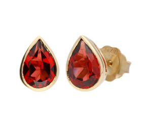 9ct Yellow Gold 1.60ct Pear Garnet Solitaire Rub Over Earrings