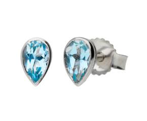 9ct White Gold 0.40ct Pear Aquamarine Stud Earrings