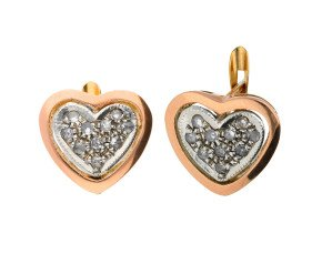Handcrafted Italian 0.50ct Diamond Heart Cluster Earrings