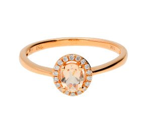 9ct Rose Gold 0.30ct Morganite & Diamond Cluster Ring
