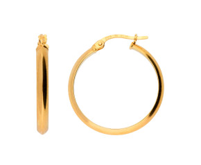 9ct Yellow Gold Knife Edge Large Hoops